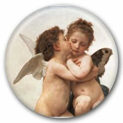 Picture of First Kiss - glass magnet diam. 5 cm (2,0 in)