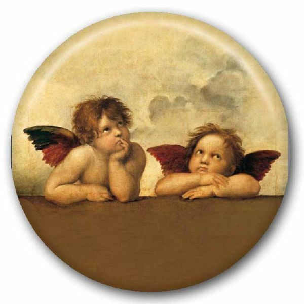 Picture of Angels by Raphael glass magnet diam. 5 cm (2,0 in)