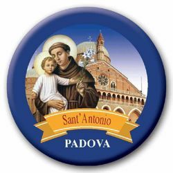 Picture of St. Anthony Padua glass magnet diam. 5 cm (2,0 in)