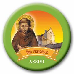 Picture of Assisi St. Francis glass magnet diam. 5 cm (2,0 in)