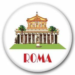 Picture of Rome St Paul Basilica glass magnet diam. 5 cm (2,0 in)