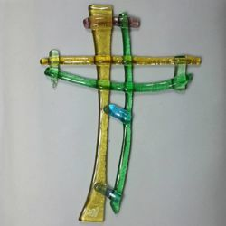 Picture of Wall cross, hand made glass - mix