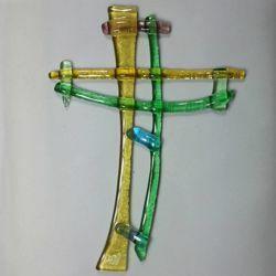 Immagine di Croce in vetro lavorato a mano - mix