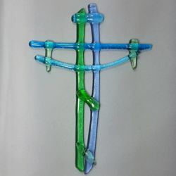 Picture of Wall cross, hand made glass - green and blue