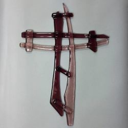 Picture of Wall cross, hand made glass - pink
