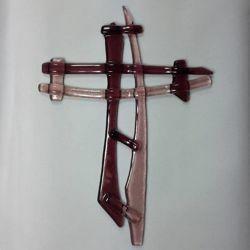 Immagine di Croce in vetro lavorato a mano - rosa