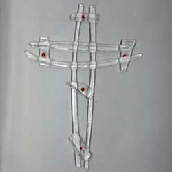 Picture of Wall cross, hand made glass - transparent