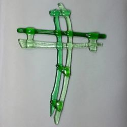Picture of Wall cross, hand made glass - green