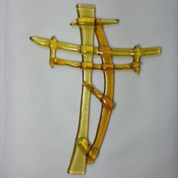 Picture of Wall cross, hand made glass - yellow