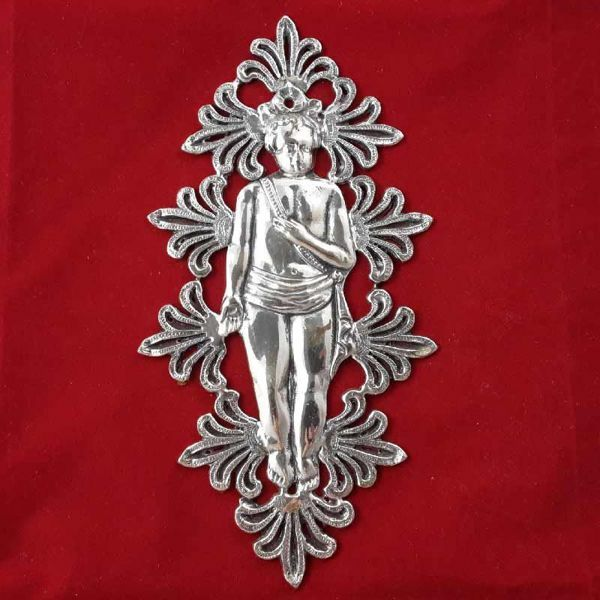 Picture of Newborn, granted wish for maternity - Gold or silver plated Ex Voto with ornamental motifs