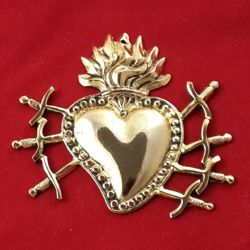 Picture of Votive heart with seven swords - Gold or silver plated Ex Voto