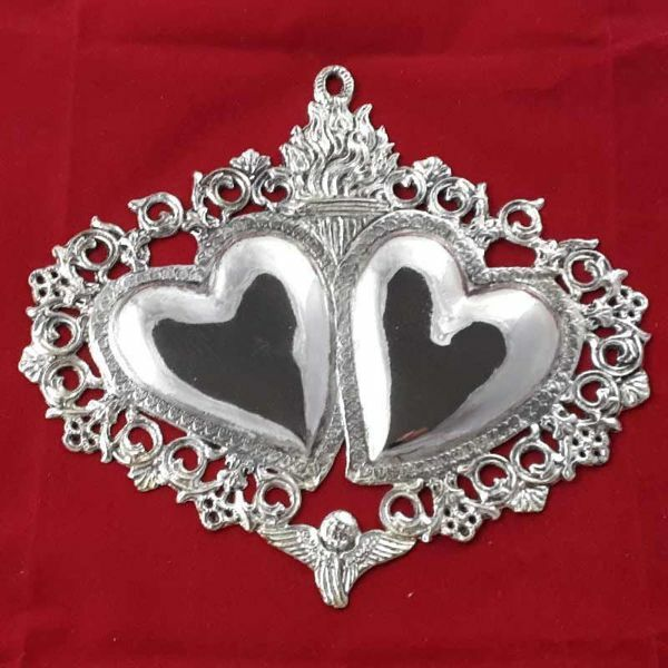 Picture of Twin Votive hearts and angel, granted wish for Good Marriage - Gold or silver plated Ex Voto