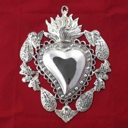 Picture of Votive heart with flame with angels and filigree decorations  - Gold or silver plated Ex Voto