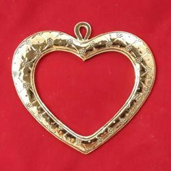 Picture of Votive heart with little flowers - Gold or silver plated Ex Voto
