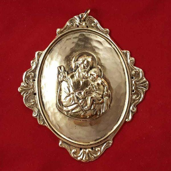 Immagine di San Giuseppe - Medaglione confraternita ovale, bagno oro o argento