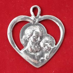 Picture of Saint Joseph heart pendant - Gold or silver plated Medal