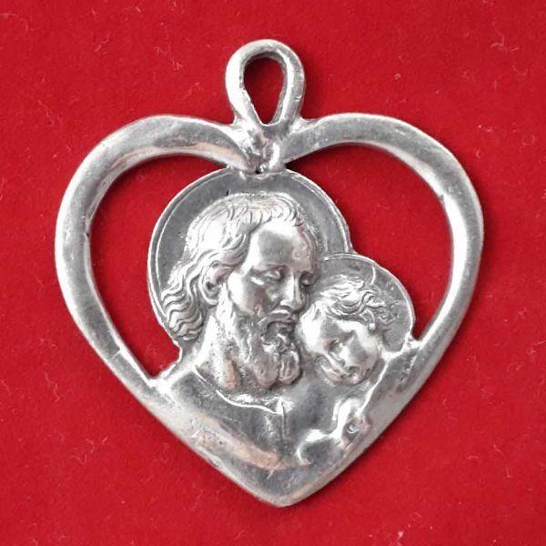 Immagine di S. Giuseppe pendente cuore - Medaglia, bagno oro o argento