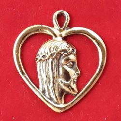 Picture of Jesus heart pendant - Gold or silver plated medal