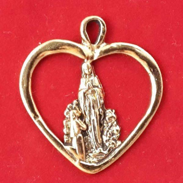 Immagine di Madonna di Lourdes pendente cuore - Medaglia, bagno oro o argento