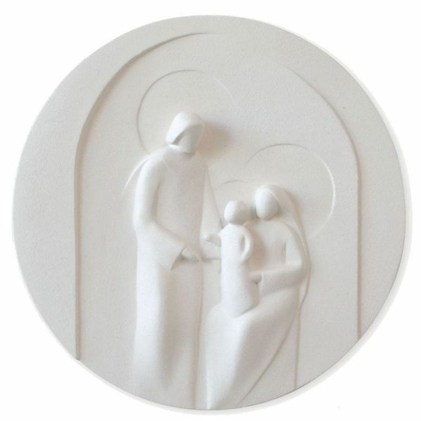 Immagine di Tondo Presepe Sacra Famiglia cm 30 (11,8 inch) bassorilievo in argilla refrattaria bianca Ceramica Centro Ave Loppiano
