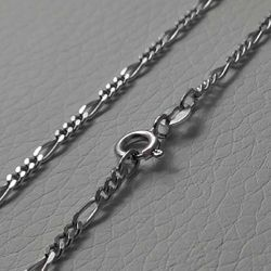 Picture of 3+1 Figaro Chain Necklace Silver 925 cm 45 (17,7 in) Unisex Woman Man Boy Girl