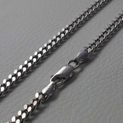 Picture of Curb Chain Necklace Silver 925 cm 45 (17,7 in) Unisex Woman Man Boy Girl