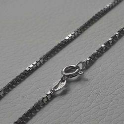 Picture of Box Chain Necklace Silver 925 cm 45 (17,7 in) Unisex Woman Man Boy Girl