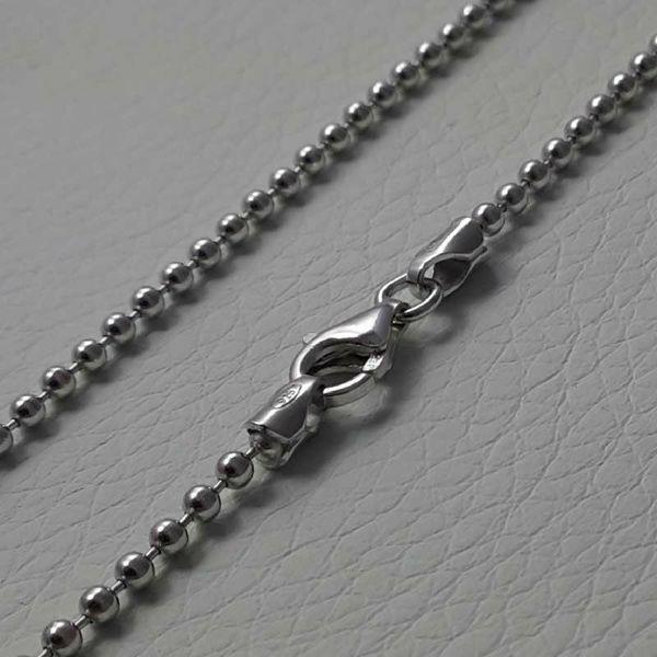 Imagen de Cadena Collar Malla Bolitas Plata de ley 925 cm 80 (31,5 in) Unisex Mujer Hombre