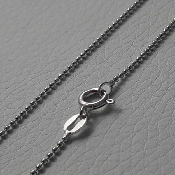 Picture of Beads Chain Necklace Silver 925 cm 40 (15,7 in) Unisex Woman Man Boy Girl