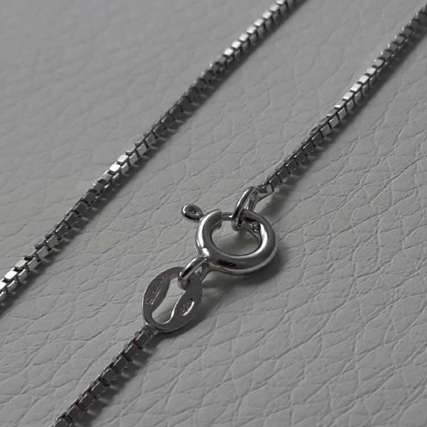 Picture of Box Chain Necklace Silver 925 cm 40 (15,7 in) Unisex Woman Man Boy Girl
