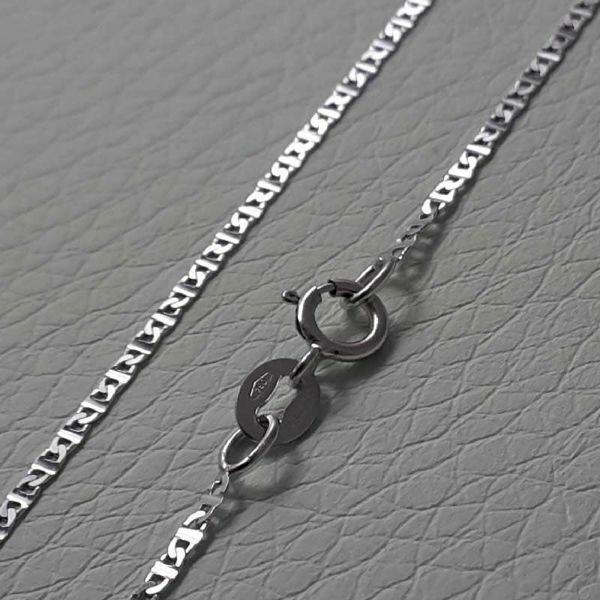 Immagine di Catenina Girocollo Maglia Traversino Oro bianco 18 kt cm 45 (17,7 in) Unisex Donna Uomo Bimba Bimbo