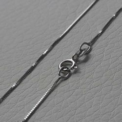 Picture of Box Chain Necklace White Gold 18 kt cm 45 (17,7 in) Unisex Woman Man Boy Girl
