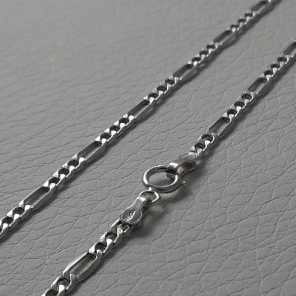Picture of 3+1 Figaro Chain Necklace White Gold 18 kt cm 45 (17,7 in) Unisex Woman Man Boy Girl