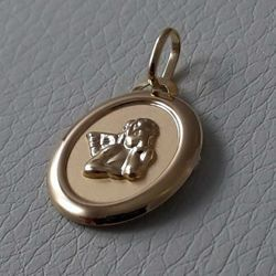 Picture of Angel of Raphael Sacred Oval Medal Pendant gr 1 Yellow Gold 18k for Woman, Boy and Girl