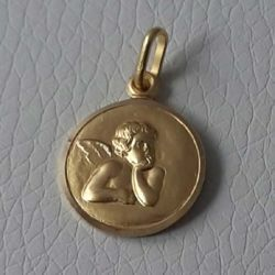 Picture of Angel of Raphael Coining Sacred Medal Round Pendant gr 2,4 Yellow Gold 18k for Woman, Boy and Girl