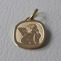 Picture of Angel of Raphael Sacred Square Medal Pendant gr 1,7 Yellow Gold 18k for Woman, Boy and Girl