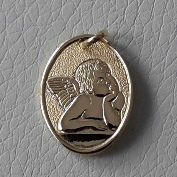 Immagine di Angelo di Raffaello Medaglia Sacra Pendente ovale gr 2,1 Oro giallo 18kt Donna Bimba Bimbo