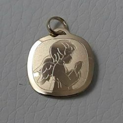 Picture of Guardian Angel praying Sacred Square Medal Pendant gr 0,95 Yellow Gold 18k for Children (Boys and Girls)