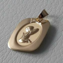 Picture of Guardian Angel praying Sacred Rectangular Medal Pendant gr 1,2 Yellow Gold 18k for Children (Boys and Girls)