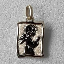 Picture of Guardian Angel praying Sacred Rectangular Medal Pendant in bas-relief gr 1,6 Yellow Gold 18k for Children (Boys and Girls)