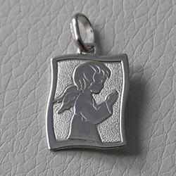 Immagine di Angelo Custode in preghiera Medaglia Sacra Pendente rettangolare gr 1,7 Oro bianco 18kt per Bimba e Bimbo