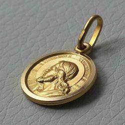 Immagine di Gesù Cristo Redentore e Preghiera Dio ti protegga Medaglia Sacra Pendente tonda Conio gr 2 Oro giallo 18kt con bordo liscio da Uomo