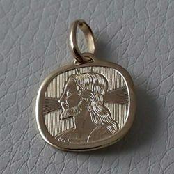 Imagen de Cristo Jesús con Aureola Medalla Sagrada Colgante cuadrada en bajorrelieve gr 1,65 Oro amarillo 18kt para Hombre