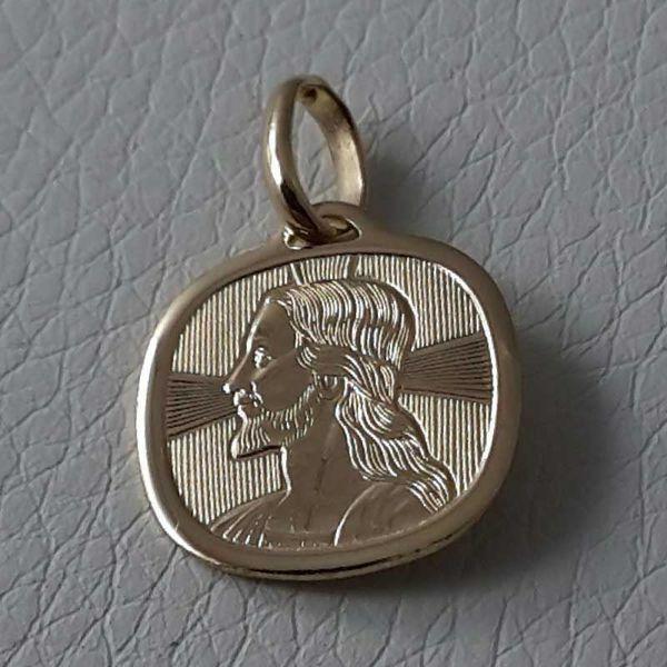 Immagine di Gesù Cristo con Aureola Medaglia Sacra Pendente quadrata Bassorilievo gr 1,65 Oro giallo 18kt da Uomo