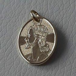 Immagine di Sacro Volto di Gesù Cristo con raggi di luce Medaglia Sacra Pendente ovale gr 2,2 Oro giallo 18kt Unisex Donna Uomo