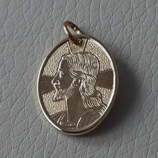 Picture of Holy Face of Jesus Christ with Rays of Light Sacred Oval Medal Pendant gr 2,2 Yellow Gold 18k Unisex for Woman and Man