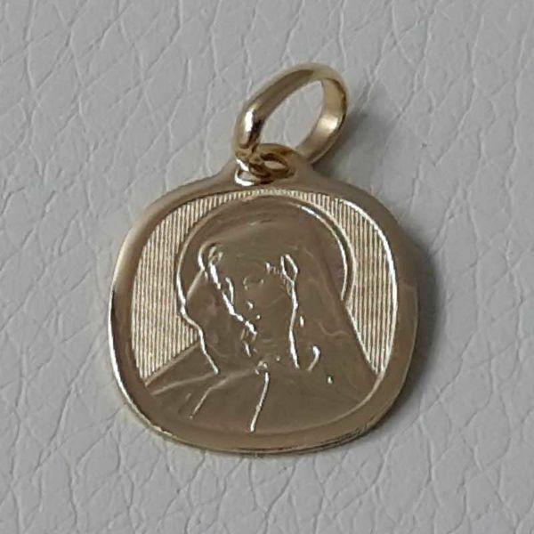 Imagen de Virgen María Nuestra Señora de los Dolores Medalla Sagrada Colgante cuadrada en bajorrelieve gr 1,65 Oro amarillo 18kt para Mujer