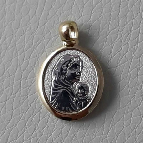 Picture of Madonna and Child Sacred Medal Round Pendant gr 2,4 Bicolour yellow white Gold 18k for Woman