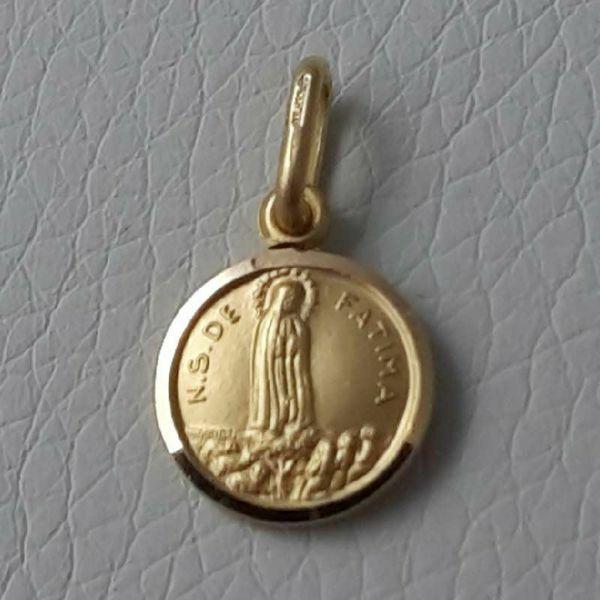 Imagen de Madonna Nuestra Señora Virgen de Fatima Medalla Sagrada Colgante redonda Acuñación gr 1,3 Oro amarillo 18kt con borde liso Unisex Mujer Hombre