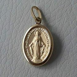 Immagine di Madonna Miracolosa Regina sine labe originali concepta o.p.n. Medaglia Sacra Pendente ovale gr 1,3 Oro giallo 18kt lastra stampata a rilievo Unisex Donna Uomo